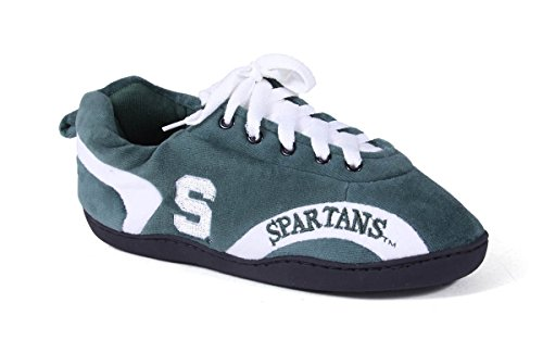 Michigan State Spartans Slippers (MSU05-4 - Michigan State Spartans - XL - Happy Feet Mens and Womens All Around Slippers)