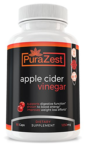 Apple Cider Vinegar Capsules 1250mg Supplement Tablets (60 Capsules) Detoxifying Support for Healthy Weight Loss Management 100% Natural, Gluten Free, GMO Free and Dairy Free For Sale
