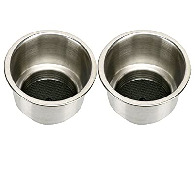 Amarine-made 2pcs Stainless Steel Cup Drink Holder with Drain Marine Boat Rv Camper