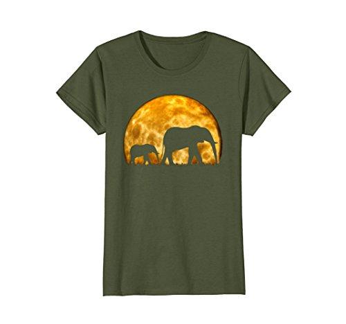 Womens Elephant T Shirt Cute Baby Elephant Wild Africa Safari Fun Large Olive by Elephant T-Shirt African Bush Wild Elephant Tee