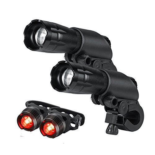 Bike Light Set - Super Bright LED Lights for Bicycle - Easy to Mount Headlight and Taillight with Quick Release System - Best Front and Rear Lighting - 2 Pack