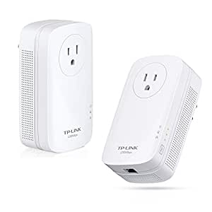 TP-Link AV1200 Powerline Adapter, Gigabit w/ Power Outlet Pass-through, Up to 1200Mbps (TL-PA8010P KIT)
