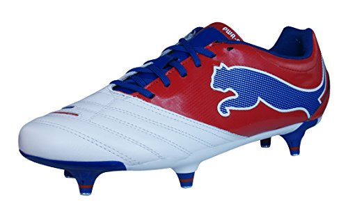 (PUMA Powercat 3.12 SG Mens Leather Soccer Boots/Cleats-White-10)