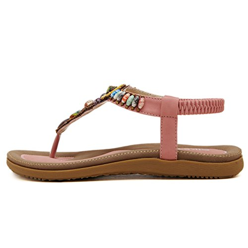 T Bohemian Women's Beach Release Sandals Shoes PADGENE Flat Coin Thong Slingback Pink New Strap Summer Beads xnBq0WHOO