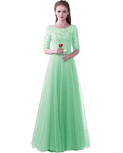 Damen Hochzeit Minze ED1716 mit Lang Tüll Spitze LuckyShe Abendkleider Festkleider Ärmeln Elegant für d7awvn