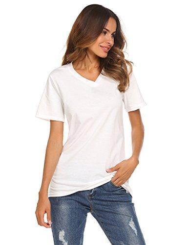 Qearal Women Short Sleeve T Shirt Plain Casual Basic Blouse Shirts Tees Top(White, M)