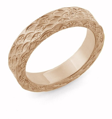 14K Rose Gold Hand Carved Design Wedding Band (Hand Carved Wedding Band)
