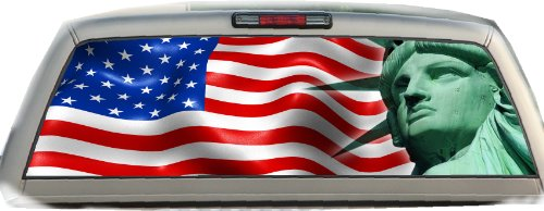 (US Standard Flag with Statue of Liberty- 22 Inches-by-65 Inches- Rear Window)