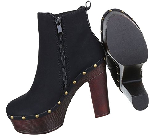 Plateau 39 Damen 36 Stiefeletten Heels Boots Beige 37 Schuhe Grau Schwarz High Schwarz 40 38 qRw7IAR