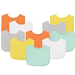 Luvable Friends Baby Bibs Value Pack, Yellow/Gray, 6 x 7.5\