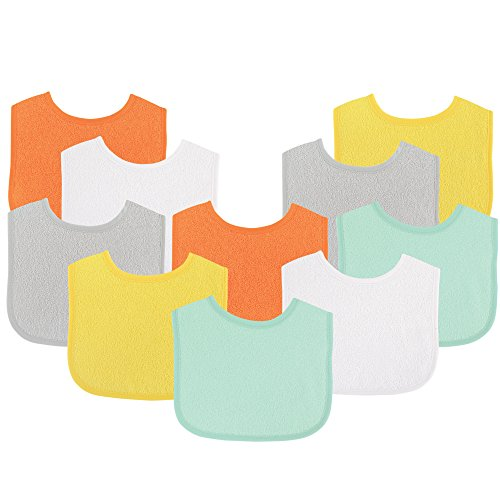 Luvable Friends Baby Bibs Value Pack, Yellow/Gray, 6 x 7.5