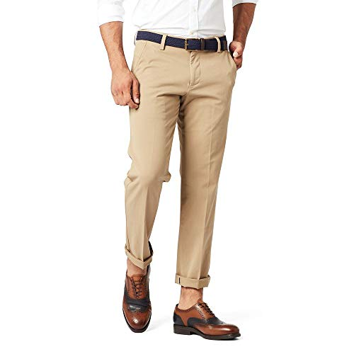Dockers Men's Slim Tapered Fit Workday Khaki Smart 360 Flex Pants, New British Khakhi (Stretch), 33W x 32L (Dockers Mens Alpha On The Go Pant)