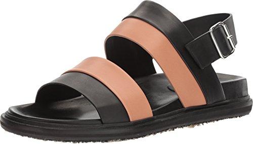 Marni Sandalo In Pelle Multicolor Nero / Rosa