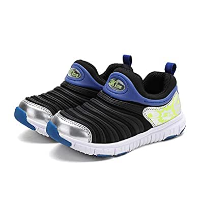 AUCDK Unisex Kids Sneakers Anti Slip Elastic Fabric Casual Sports Shoes for Running and Walking Black