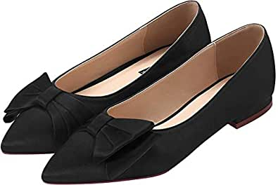 ERIJUNOR Wedding Flats Comfortable Flat Shoes for Women Closed Toe Wide Width Evening Party Dress Shoes Black Size: 6