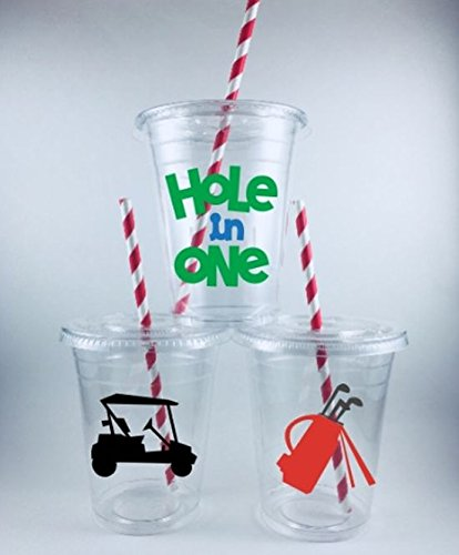 GOLF PARTY CUPS Birthday SET OF 12 WITH Lids and Straws