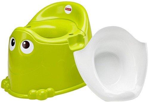 Fisher-Price DKH99 Frosch Töpfchen Toilettentrainer mit integriertem Spritzschutz grün für Kleinkinder Mattel GmbH (Repack)