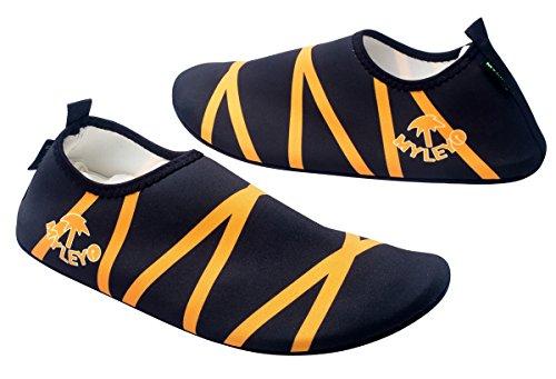 Panegy Unisex Aquaschuhe/ Strandschuhe/ Badeschuhe/ Surfschuhe für Damen und Herren, Größe L(Gr.38-39) - Schwarz & Orange