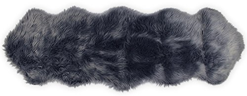 Nouvelle Legende Faux Fur Sheepskin Premium Rug Duo (23 in. X 73 in.) Gray (Fur Bed Runner)