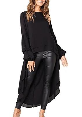 PRETTYGARDEN Women's Lantern Long Sleeve Round Neck High Low Asymmetrical Irregular Hem Casual Tops Blouse Shirt Dress
