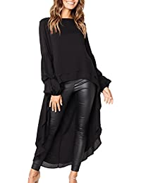 Women's Lantern Long Sleeve Round Neck High Low Asymmetrical Irregular Hem Casual Tops Blouse Shirt Dress