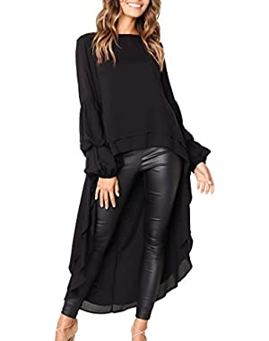 Women's Lantern Long Sleeve Round Neck High Low Asymmetrical Irregular Hem Casual Tops Blouse Shirt Dress