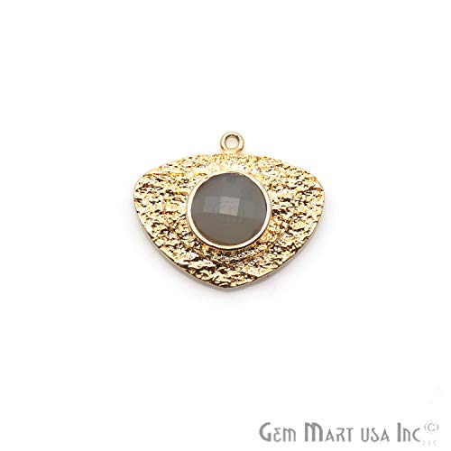 Gray Chalcedony Gemstone Pendant, Necklace Pendant, Single Bail Pendant, 25x22mm Gold Plated Pendant, Trillion Shape Pendant GemMartUSA (GPCG-50161)