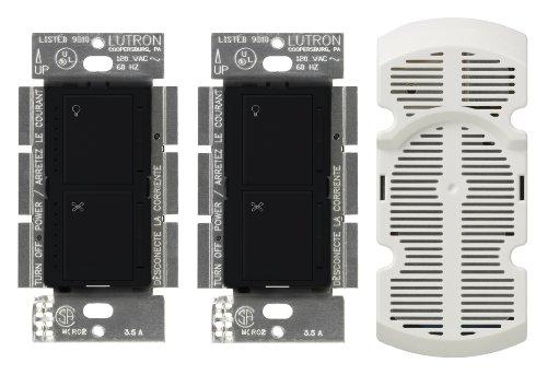 Lutron MA-LFQ3-MN Maestro 300-Watt Multi-Location Digital Dimmer 1.5 Amp Fan Control with Companion Dimmer/Fan Control and Canopy Module, Midnight