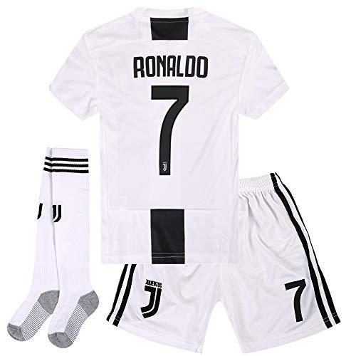 707581e27f2 Cyllr Juventus Home Kids Youth 2018-2019 Season.  7 Ronaldo Socce Jersey  Matching Shorts