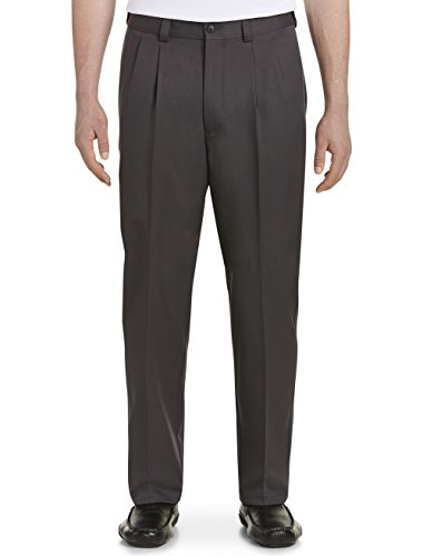 (Oak Hill by DXL Big and Tall Waist-Relaxer Pleated Microfiber Pants- New & Improved Fit Grey)