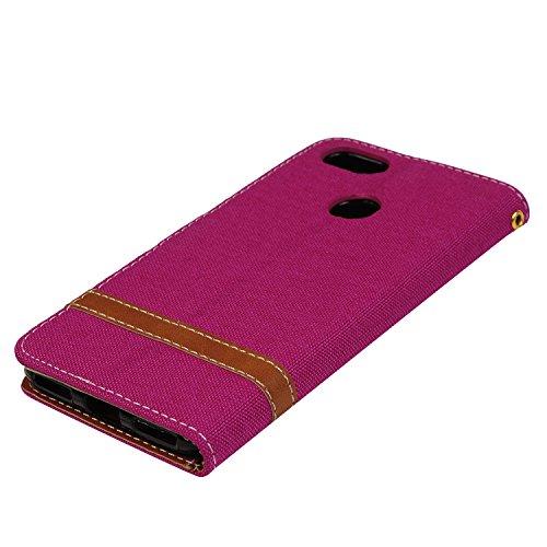Funda Huawei P9 lite mini Libro de Cuero Con Tapa y Cartera Carcasa PU Cuero Con TPU Silicona Case Interna Suave Soporte Plegable Ranuras para Tarjetas y Billetera Cierre Magnético - VISPOW Rojo