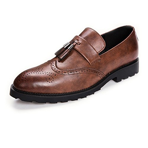 brown Mariage Jeunes Occasionnels LYZGF Glands Bullock en Cuir Affaires Mode Chaussures Hommes de 7qxxp0
