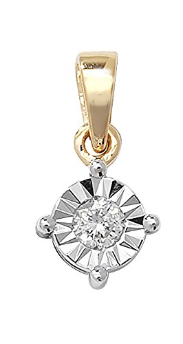 Or 9 ct Illusion 0,13 carats de diamants pendentif sur un collier maille jaseron