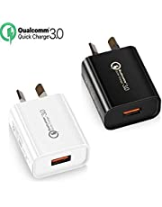 Quick Charge 3.0 with AUS Plug, IGUGIG 18W SAA Certified Qualcomm USB Wall Charger Adapter for iPhoneXs/Xs Max/X /8 Plus/8/7Plus/7/6Plus/6/5S,iPad,iPod,Samsung,HTC,Xiaomi,Huawei(2PACK White+Black)