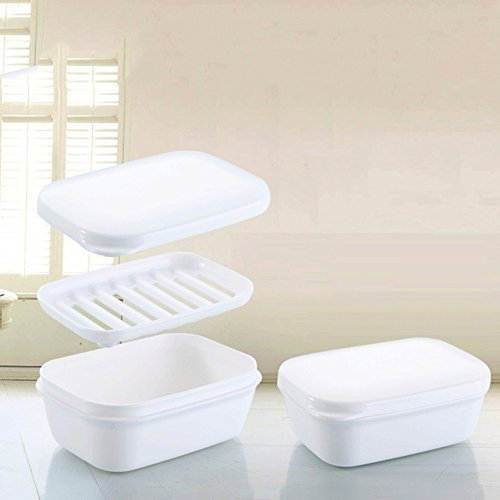 Whitelotous Portable Travel Soap Box with Lid Drain Layer Seal Leak-proof Soap Dish Case