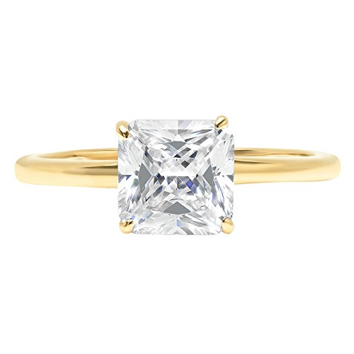 2ct Asscher Brilliant Cut Classic Solitaire Designer Wedding Bridal Statement Anniversary Engagement Promise Ring Solid 14k Yellow Gold, 4.25 by Clara Pucci