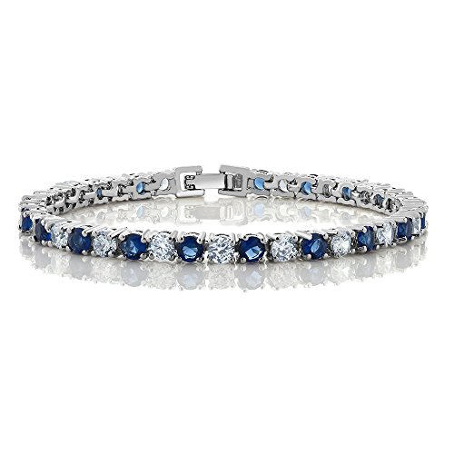 10.00 Ct Round Cut Blue Simulated Sapphire and Zirconia Tennis Bracelet 7″