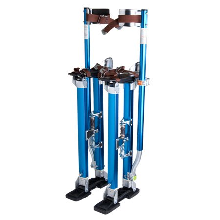 Heavy Duty Blue Adjustable 24-in. to 40-inch Aluminum Painting Drywall Stilts with Premium Straps & Skid Slip Resistant Rubber Taping Cleaning Construction Industrial from Generic