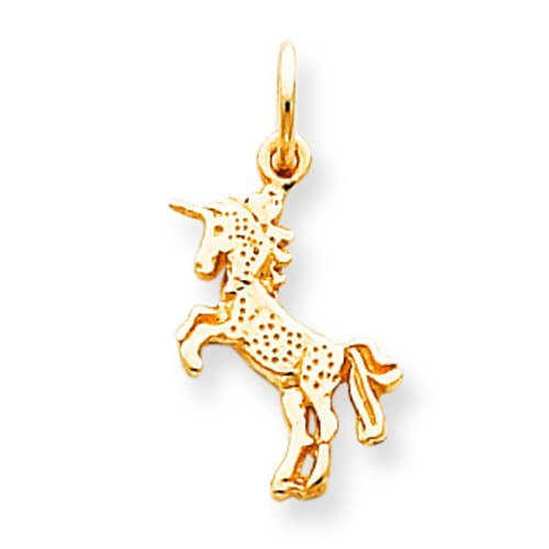 Gold Unicorn Charm - 10K Yellow Gold Baby Unicorn Charm Polished Jewelry