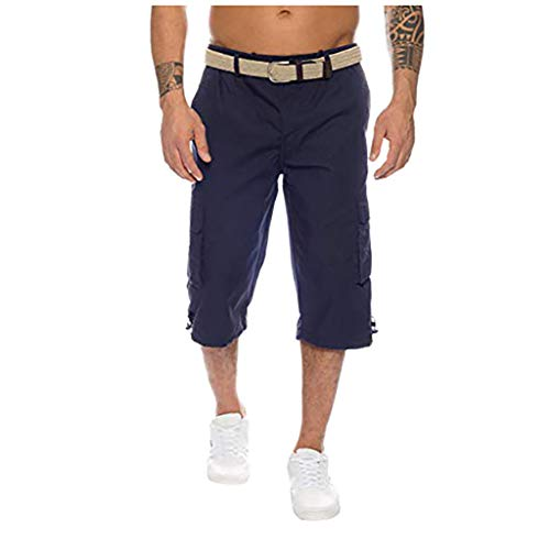 Men's Button Cotton Multi-Pocket Overalls Shorts Fashion Pant, Mmnote Dark Blue