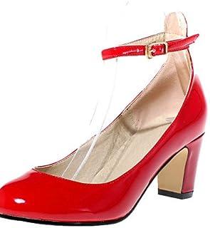 IJKMN GGX/chaussures pu talons été/automne/bout rond talons bureau des femmes&carrière/robe/casual chunky talon boucle almond-us5/eu35/uk3/cn34 MNJMK