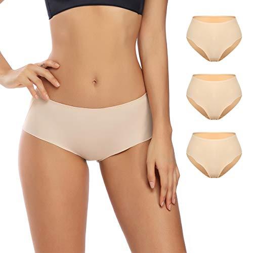 Seamless Hipster Panties, No Show Underwear, Women's Mid-Waist Boyshorts, Laser Cut Briefs (Nude, -