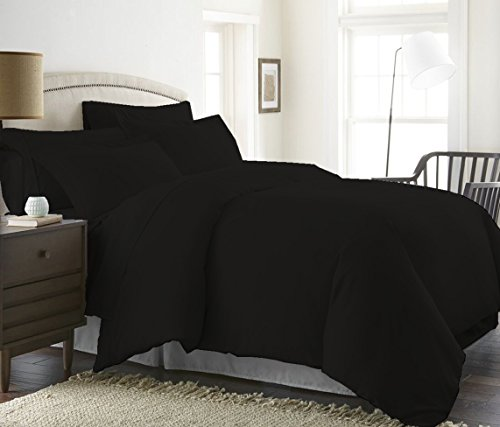 Duvet Cover 600 Thread Count (Duvet Cover with Zipper Closure) 100% Pima Cotton Hypoallergenic Solid By Serene Linens (King/California King, Black)