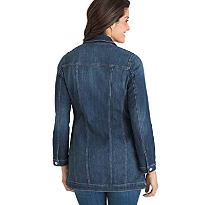 Chico's Women's Elongated Stretch Denim Button-Front Multi Seasonal Pocketed Jacket at Women's Coats Shop