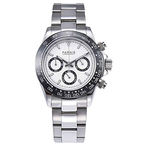 (39mm PARNIS White dial Sapphire Glass Solid Full Chronograph Quartz Mens Watch)