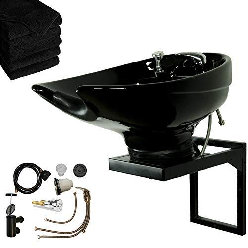 LCL Beauty Wall Mount Salon & Spa Shampoo Bowl (Black Ceramic)