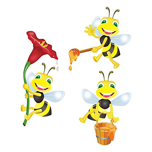 (decalmile Bees Wall Stickers Murals Removable Vinyl Animals Flower Wall Decals for Kids Children's Room Nursery)