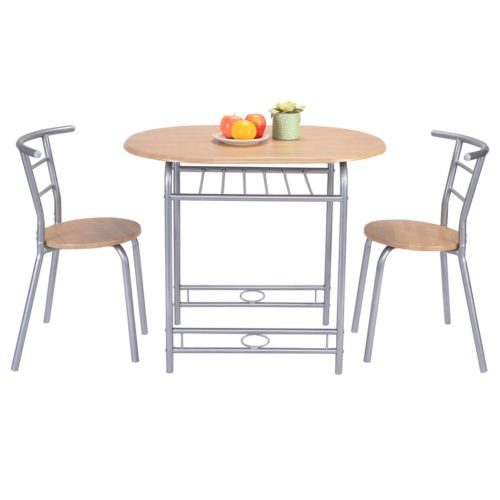 (3 PCS Table Chairs Set Kitchen Furniture Pub Home Restaurant Dining)