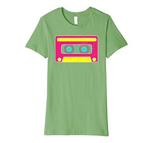 Womens Neon Cassette Tape 1980s Pop Mix Tape Halloween Hugs T Shirt Medium Grass - Pop Culture Costumes Ideas