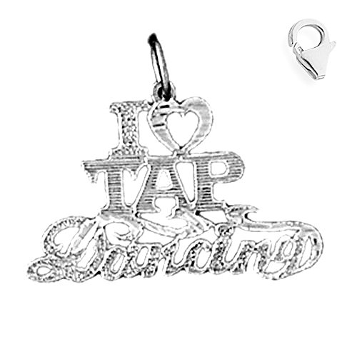 - Jewels Obsession Saying Charm | 14K White Gold I Love Tap Dancing Saying Charm Pendant - 19mm